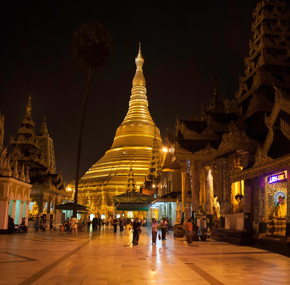 Shwedagon Pagoda at Night. Yangon.