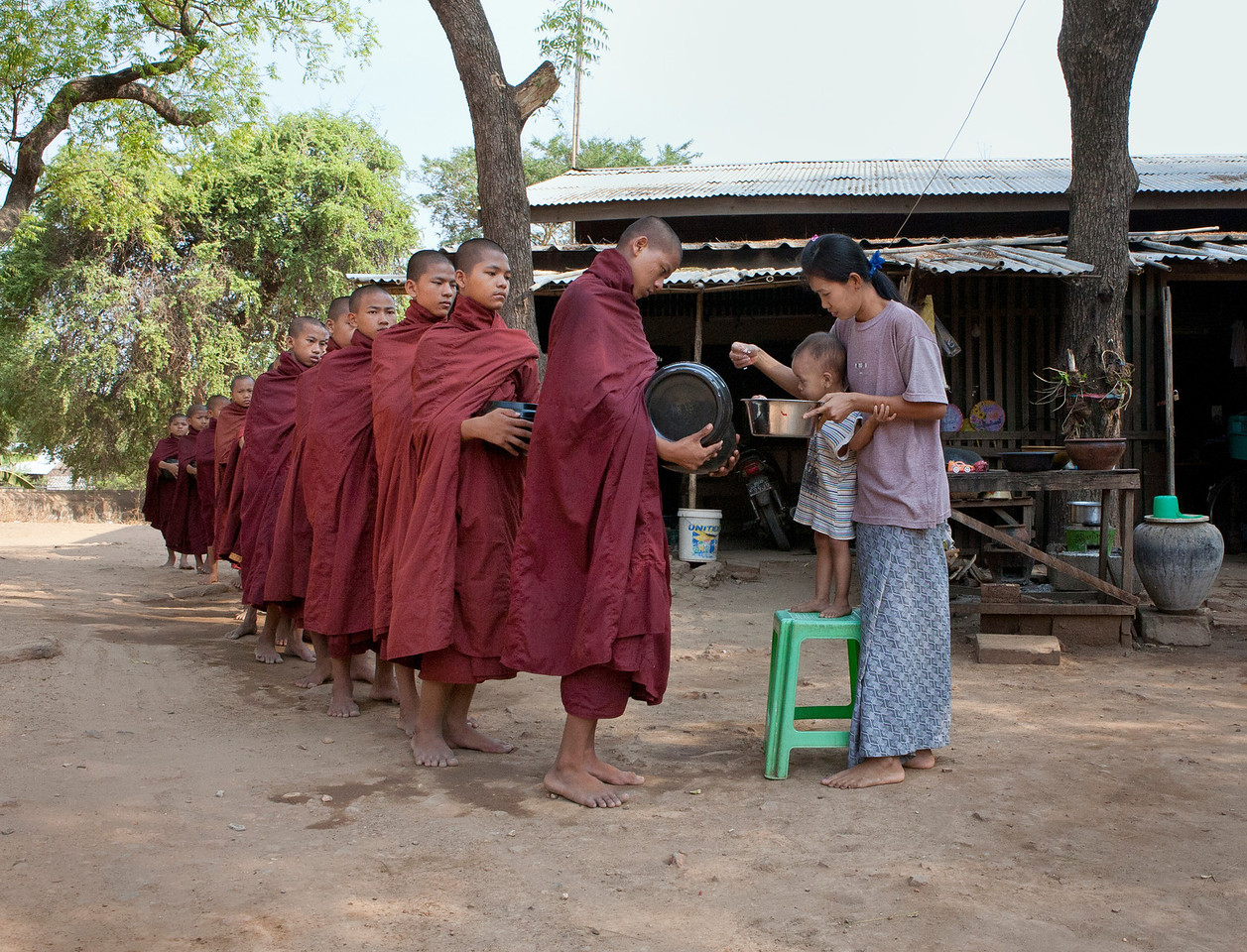 Receiving Alms in Bagan
