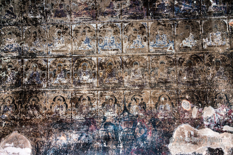 Temple wall paintings, Bagan, Myanmar<br /> <br /> These are multiple images of the Buddha deep inside the temple, and are several hundred years old. They were photographed with flash in almost complete dark.