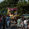 Street festival with paper mache figures, Bagan, Myanmar