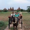 Horse-drawn cart ride through the temples, Bagan, Myanmar