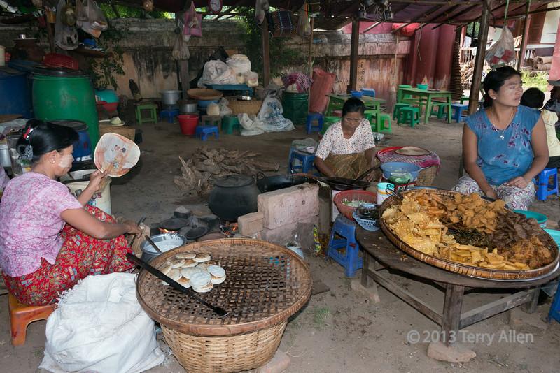 Woman preparing street food, New Bagan, Myanmar