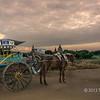 Horse-drawn cart at sunset, Bagan, Myanmar
