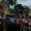 Paper mache figures at street festival, Bagan, Myanmar