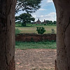 View through temple door towards distant temples, Bagan, Myanmar (best seen at larger sizes)