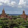 Temples with the Irrawaddy River in the background, Bagan, Myanmar