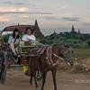 Horse-drawn cart near Shwesandaw Pagoda at sunset, Bagan, Myanmar
