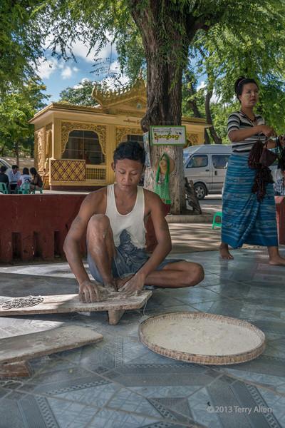 Man polishing a marble slab, Mandalay, Myanmar