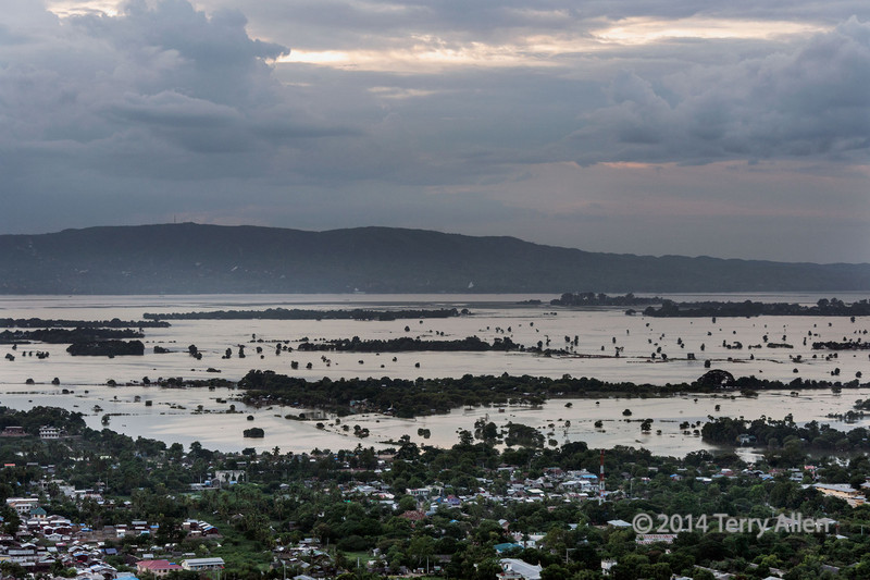 Flooded Irrawaddy River seen from Mandalay Hill, Myanmar