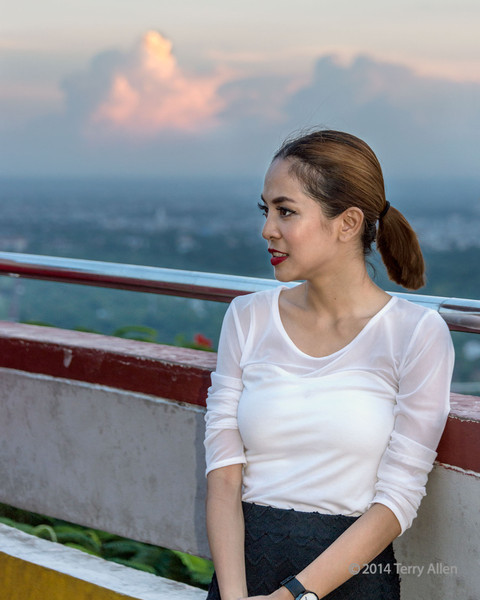 Burmese beauty enjoying sunset at Mandalay Hill, Myanmar