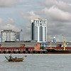 Yangon skyline from the Irrawaddy River, Myanmar