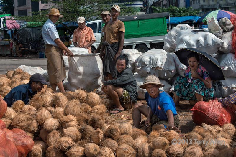 Workers-harvesting-coir-(coconut-fibre),-Irrawaddy-River-docks,-Yangon,-Burma