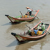 Pair of long-tail boats on the Irrawaddy River v2, Yangon, Myanmar<br /> <br /> The cropped version.