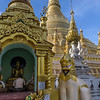 Schwedagon-Pagoda-with-a-Chinthe-(half-lion,-half-dragon),-Yangon,-Burma<br /> <br /> You see Chinthe's everywhere throughout the country.
