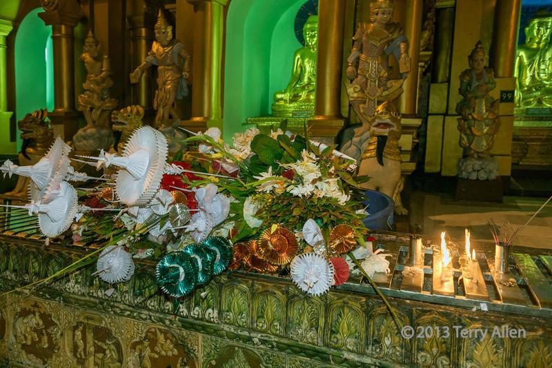 Floral offering, Schwedagon Pagoda, Yangon, Myanmar