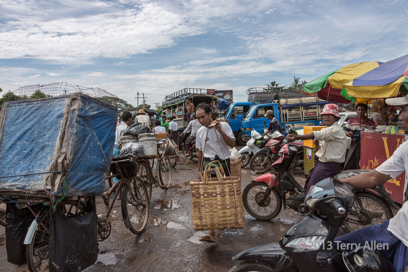 Daily chaos at the Dala Ferry Terminal across the river from Yangon, Myanmar