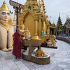 Monk-anointing-a-Buddha-with-water,- Schwedagon-Pagoda,-Yangon,-Burma