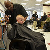 "My grandson getting a real ""high and tight"" haircut on base at Camp Lejuene a couple of weeks ago."