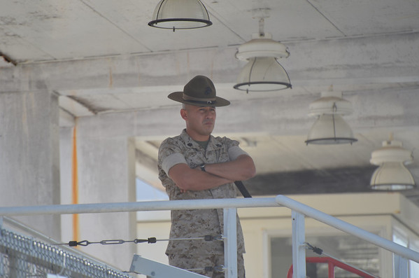 Took this pic last weekend at Parris Island . He was supervising practice for graduation ceremonies for the next day and he was none to happy about how things were going...