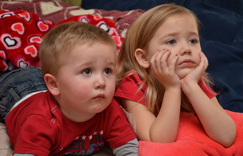 Grandkids just watching a movie on a lazy sunday..