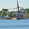 Sunken pirate ship across the lagoon from the Boardwalk resort at Disney