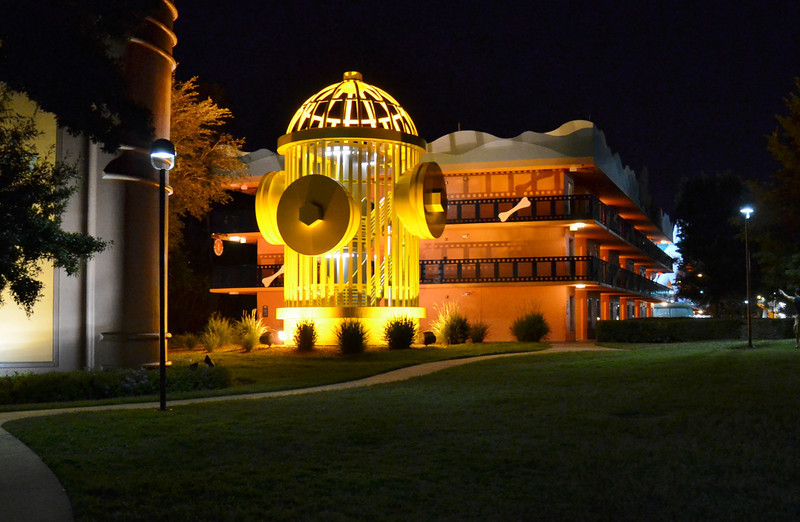 Night shot of a stairwell ( the giant fire hydrant) at the 101 Dalmations wing at the Disney Hollywood Movies Resort.