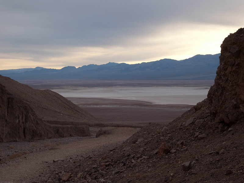 View down the canyon to the salt flats