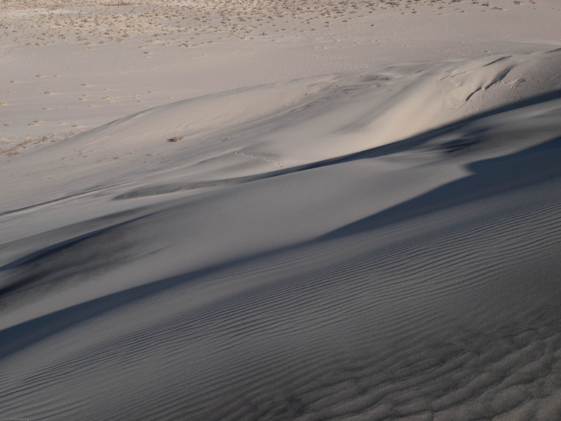 Looking down the dunes