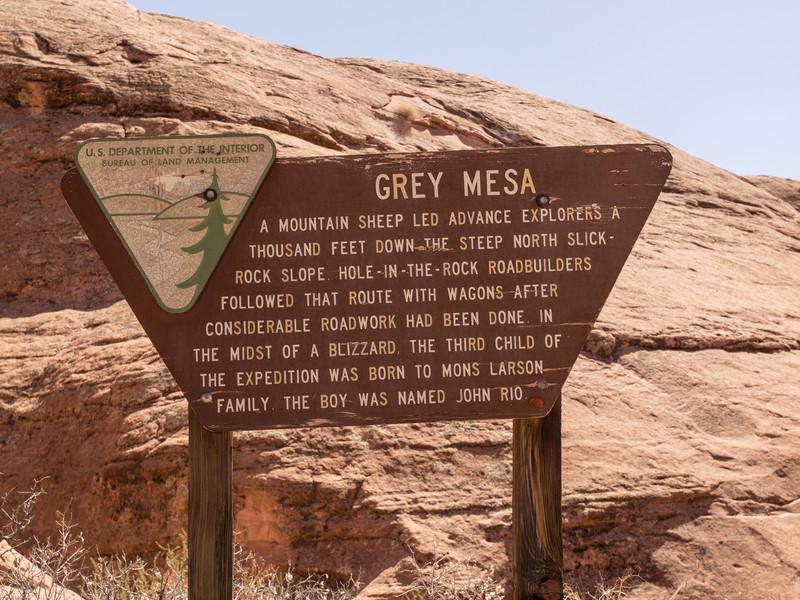 Gray Mesa<br /> Grey Mesa sign