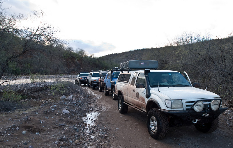 Lined up after another water crossing