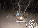 LJ Tending the fire at our first camp