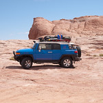 Our Toyota FJ Cruiser at the top of Hole in the Rock