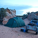 Camp at sunset near Coyote Buttes