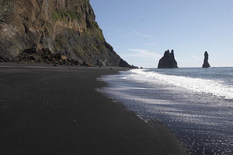 Rockfall at Reynisfjara in S-Iceland