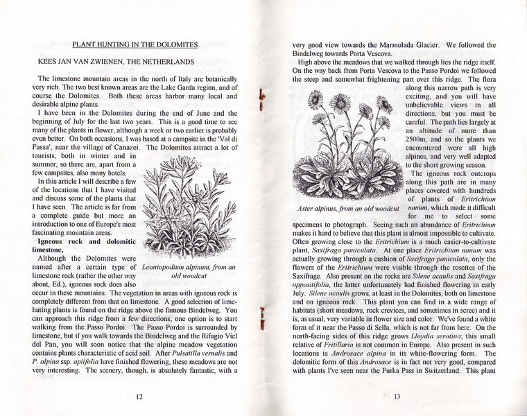 Plant Hunting in the Dolomites, Alpine Garden Club of B.C., Vol 40, No.1, Bulletin, February 1997, Kees Jan van Zwienen