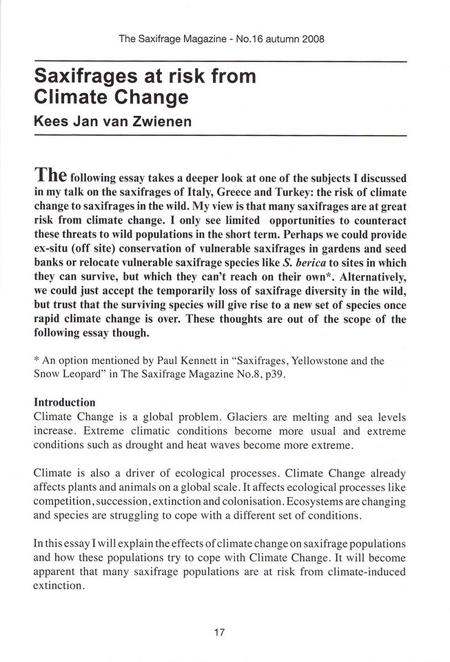 Saxifrages at risk from Climate Change, Kees Jan van Zwienen, Autumn 2008