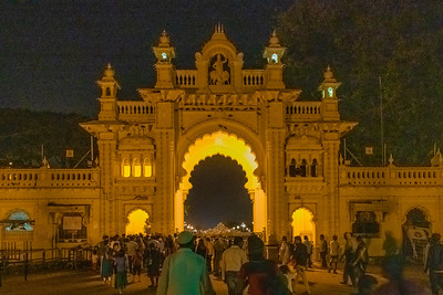 Entering the Mysore Palace plaza to watch the lights