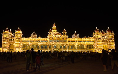 Mysore Palace, illuminated