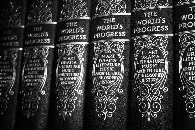 The World's Progress series of antique books in black and white.