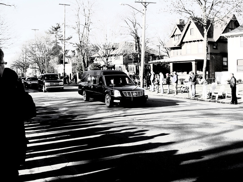 President Ford's funeral procession in Grand Rapids, Michigan, with a vintage turn.