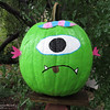 A one-eyed, goofy pumpkin found on the fencepost of the Root Family in south Chico. (Heather Hacking--Enterprise-Record)