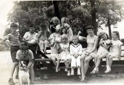 Children with Animals at a Picnic Table (02318)