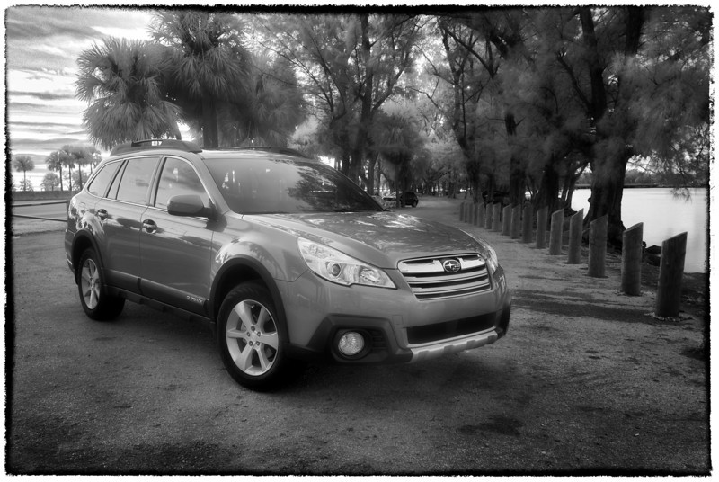 To get there and back, safely, but having fun: <br /> <br /> Subaru Outback at Key Biscayne<br /> 3-shot HDR infrared blend