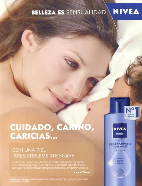 NIVEA Body (Loción Cremosa Triple Acción) 2008 Spain 'Belleza es sensualidad - Cuidado, cariño, caricias'