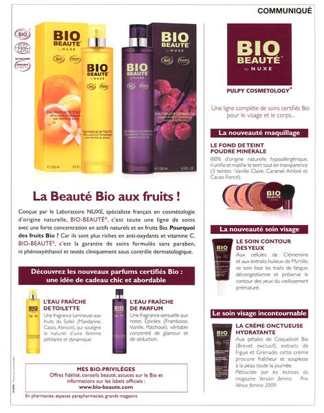 NUXE Bio Beauté Eau Fraîche de Toilette - Eau Fraîche de Parfum 2010 France (Communiqué Elle) 'La Beauté Bio aux fruits!'