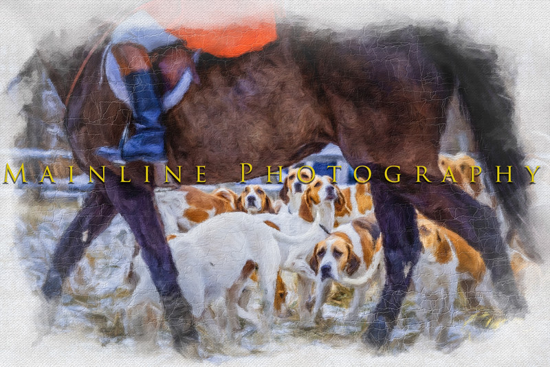 Hounds under Horse aged painting