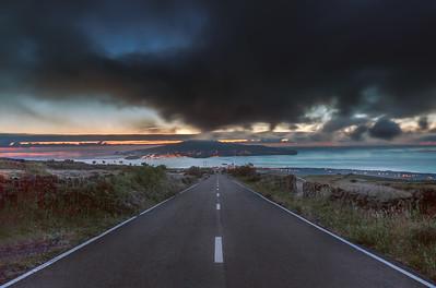 Road on Pico Island vanishing into Faial Island