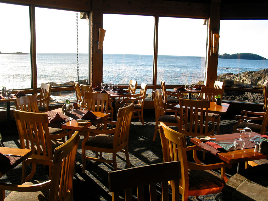 From the Pointe Restaurant's dining room, you look directly out over the Pacific.