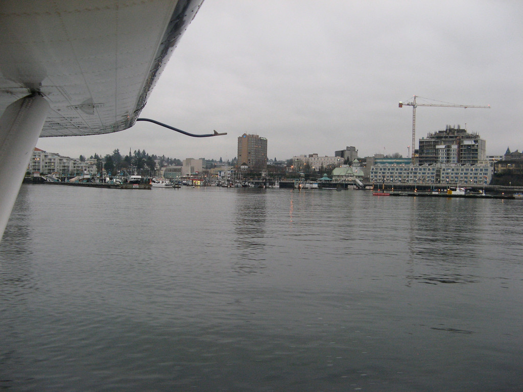 Getting ready to land on Vancouver Island at the Nanaimo Seaplane Terminal in downtown Nanaimo.