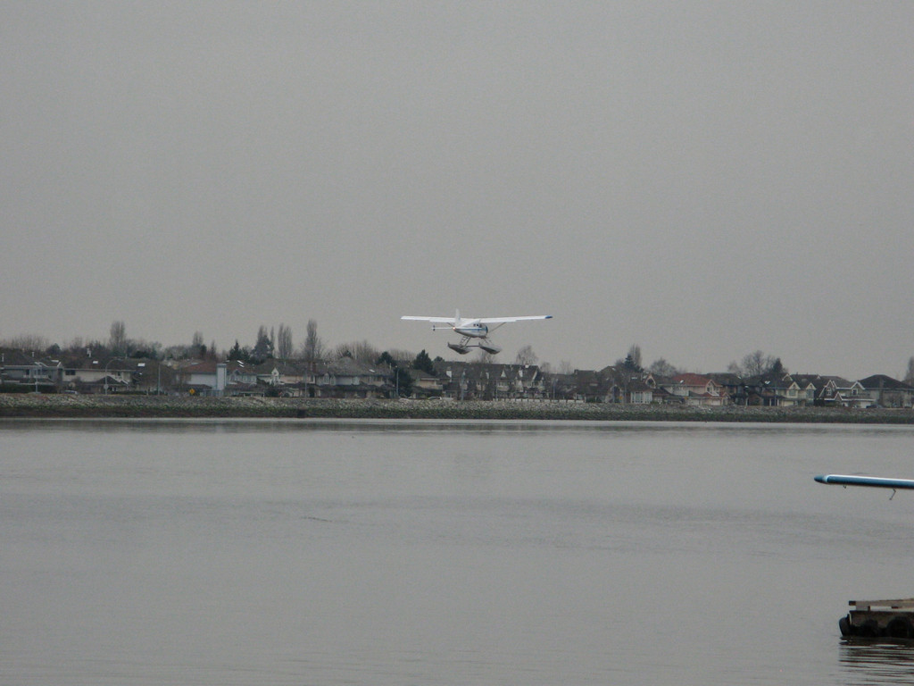Here's a seaplane getting ready to land.